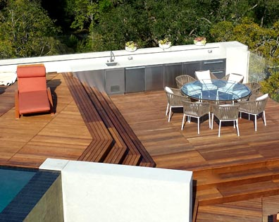 IPE Decking Tiles On Pool Deck